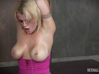 Tied up blonde is up for all sorts of sex games with her masters