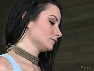 Classy tattooed brunette in bondage tied with ropes in BDSM torture