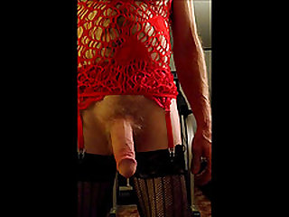 Sissyboy in Red Lingerie