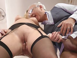 Stunning bleached chick with high heels Lucy Heart is banging deep in her asshole with hardcore force