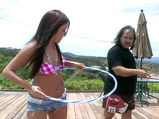 The old dick belongs to Ron Jeremy and he fucks young cutie Tasia Banx in an outdoor video.