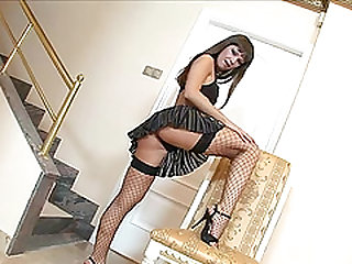 Sexy girl Angelina Crow puts on her sexy fishnets for sex and a facial