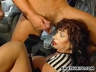 Rough foursome banging for the experienced babe with huge boobs