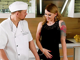 Horny chef bending Misha Cross over for some ruthless fucking