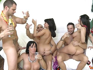Christmas party orgy with the finest big breasted sluts
