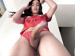 Sexy big cock tgirl stroking