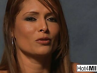 Brunette MILF with big tits sucks and fucks like a champ