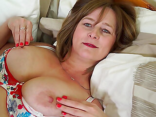 April O. loves to play with her huge tits and shaved pussy
