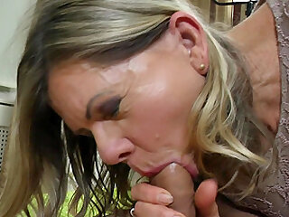 Constance's hairy pussy gets penetrated by this lucky stud