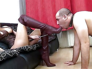 Brown High Heel Boots in His Face