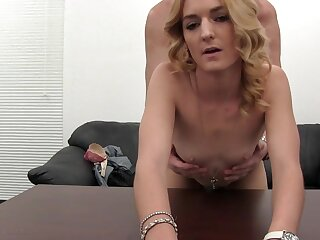 Anal creampie for the blonde slut in his casting office