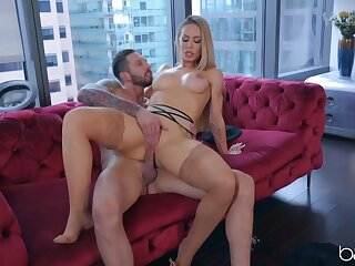 Nicole Aniston moans as she gets fucked in stockings
