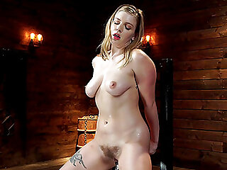 Giselle Palmer destroys her shaved pussy with two big sex toys
