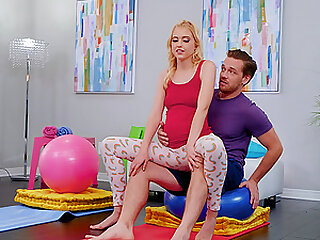 After yoga class pregnant Chloe Cherry please her friend's cock