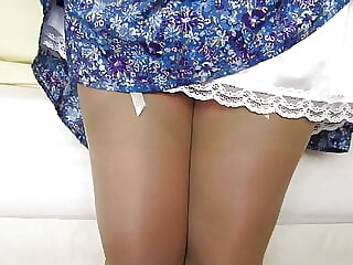 Pamala blue skirt white slip stockings