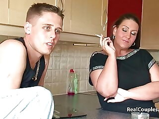 Dani Amour and her boyfriend chat before fucking twice