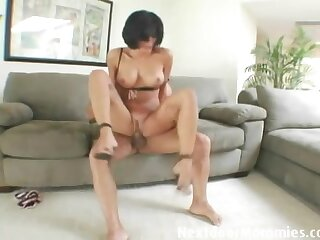 Tight body and fake tits are sexy on a fuckable milf