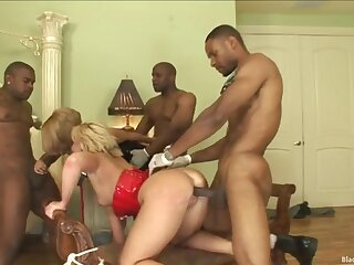 Sexy bitches triple teamed by BBC in a small orgy