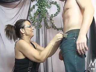 Sultry older lady sucks and swallows his dick