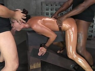 Spit roasted slut India Summer in sexy bondage