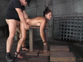 Ava Dalush spit roasted in a bondage threesome