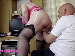 Bald guy loves stockings and suspenders
