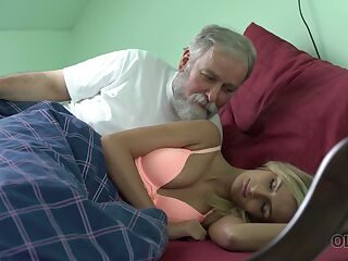 Old dude licks and fucks pussy of charming kept woman Jenny Smart