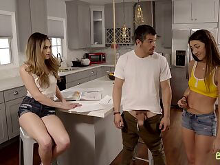Dude has the honor to fuck naughty stepsister Lily Adams and her best girlfriend