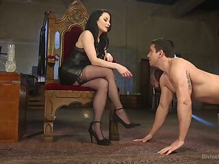 Slutty mistress Veruca James punishes tied up dude with crazy strapon