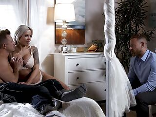 Jaw dropping busty wife Nina Elle makes her husband cuckold for the first time