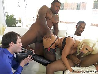 Black hunks fuck the blonde wife while hubby licks her toes