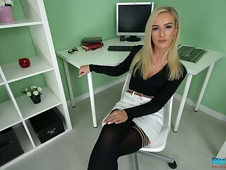 Blond office chick Naomi gets naked and shows off yummy snatch