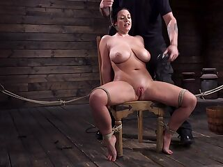 Submissive milf with G-cup boobs Angela White gets punished in the basement
