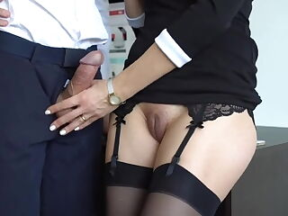 Great handjob from cute girl in stockings