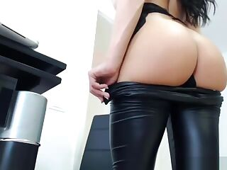stunning leather beauty showing ass