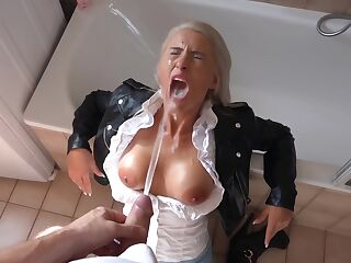 German Blonde in Black Leather Jacket Sex