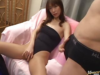 Hot Asian MILF Gives a Blowjob and Takes The Cumshot on Her Hairy Pussy