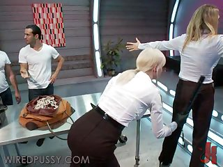 Blonde Cutie Has A Bit Of Femdom Action After getting Frisked In An Airport