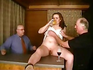 Amateur Teen gets Rammed By Old Men In A Threesome