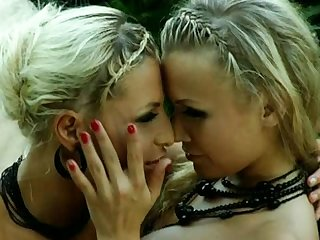 Awesome Lesbians In Sexy Leather Outfits Licking Each Other's Wet Pussies