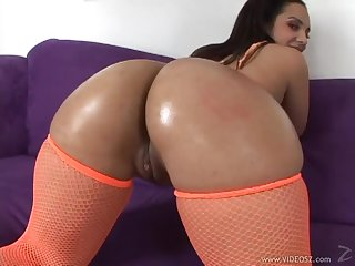 Big Ass Ebony Takes A Black Cock Down Her Throat And Pussy