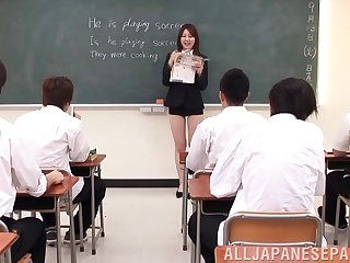 During this lesson the teacher shows them how to please a woman