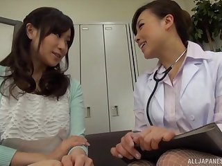 Asian doctor lady convinces a patient she needs lesbian sex