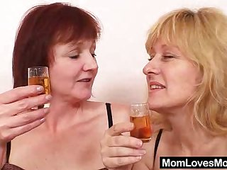 Chubby Euro moms in stockings fuck their toys together