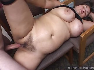 Fucked up looking lady with big tits nailed by cock